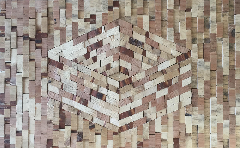 Square in wood - 100 x 64 cm. TE KOOP - € 2.150,-
