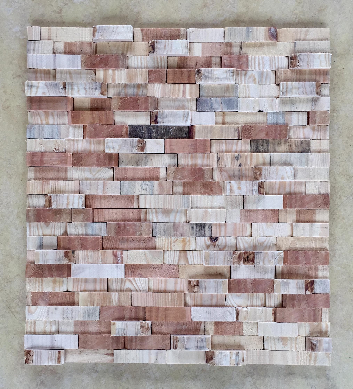 Wooden wall - 86 x 72 cm. TE KOOP - € 780,-